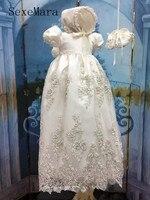 2019 Luxury White Ivory Baby Girls Christening Gown Lace Beading Short Sleeve O Neck Baptism Dress with Bonnet