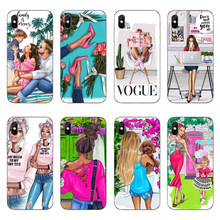 Black Brown Hair Baby Mom Girl Case For iPhone X 8 7 6 6s Plus 5 5s SE Silicone Fashionable city female white-collar Coque Cover