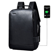 Waterproof Leather Men Backpack External USB Charger Men's Bag 15.6 Inch Laptop Backpack Sports Travel Bags Business Male Bag