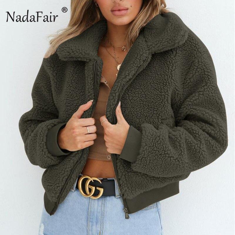 c0c524fb2f9 Nadafair Fluffy Teddy Jacket Coat 3XL Plus Size Autumn Winter Long Sleeve  Faux Fur Coat Women Turn Down Short Jacket Female-in Basic Jackets from  Women s ...