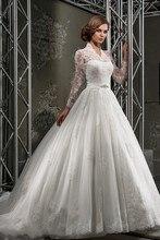 Casamento A line Wedding Dress Full Sleeves Vestido De Novia Lace Vintage Bridal Dresses Crystal Belt Cheap Prices In Euros 2016