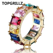 TOPGRILLZ Iced Out Cubic Zircon Multicolor รอบแหวน Hip Hop Gold Silver สี CZ (China)