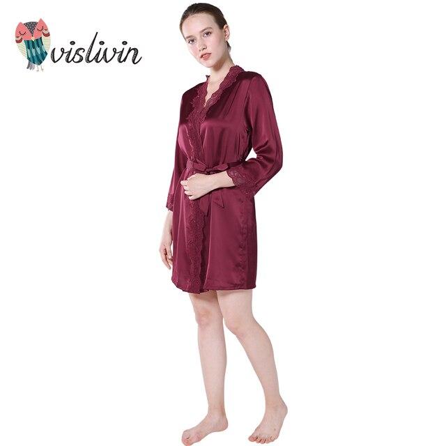 47efbd4919 Vislivin nuevo encaje Sexy Bata para dormir mujer camisón cuello en V nuevo  estilo verano ropa