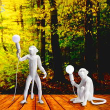 Modern Hemp Rope Monkey Lamps LED Floor Lights Art Replicas Resin Desk Bar Decoration Standing Luminaire