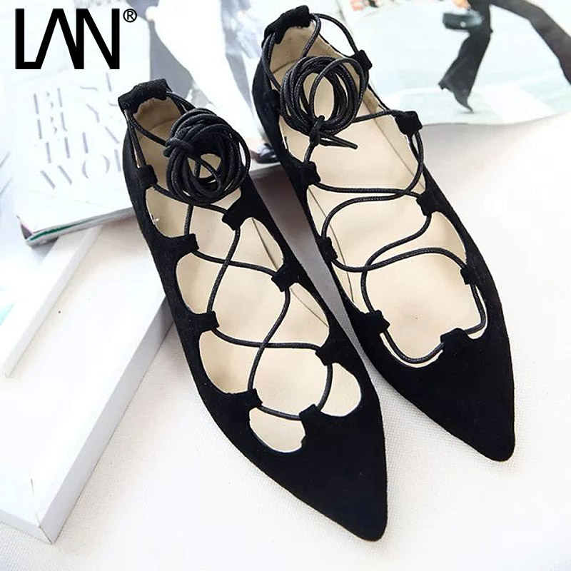 Fashion 2017 Spring Summer Women Ballerina Flats Pointed Toe lace up Women Flats Ankle Strap Casual ladies Loafers Shoes 2017 spring summer new women casual pointed toe loafers flats ballet ballerina flat shoes plus size 34 43