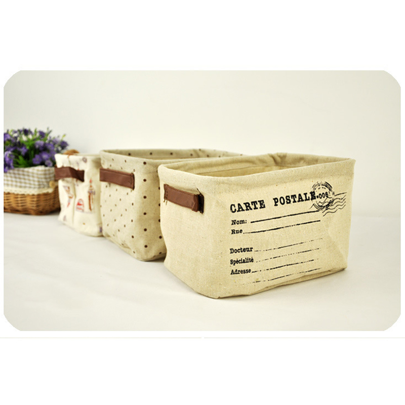 Waterproof Lovely Folding Postmark Office Home Sundries Card Storage Pencil Holder Wire Basket Organizer Project Box