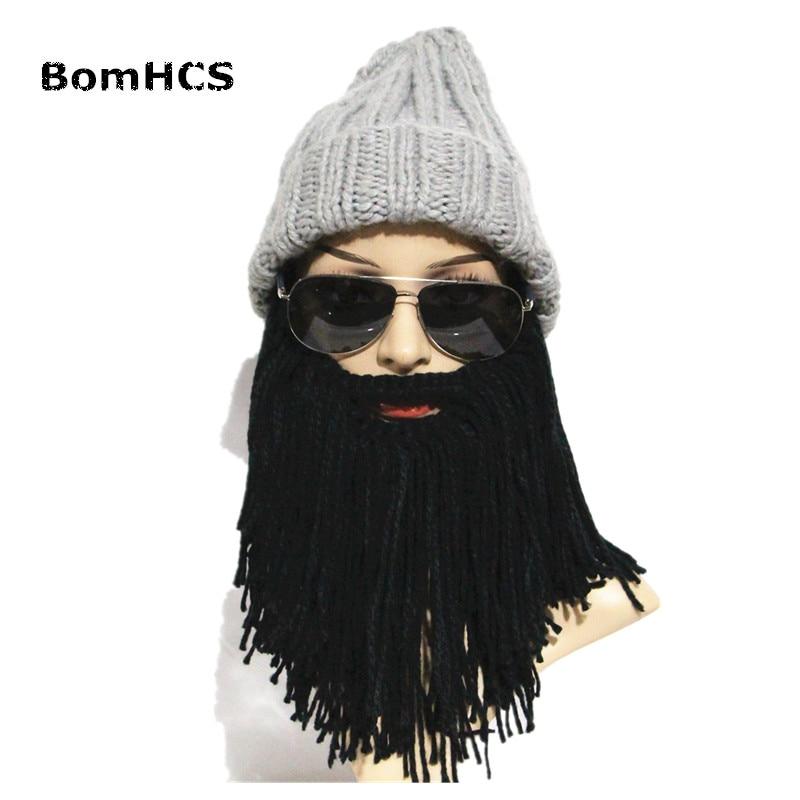 Unisex Roman Helmet Barbarian Knight Knit Beard Hat Handmade Winter Warm Ski Face Mask Funny Beanie Cosplay Ski Cap