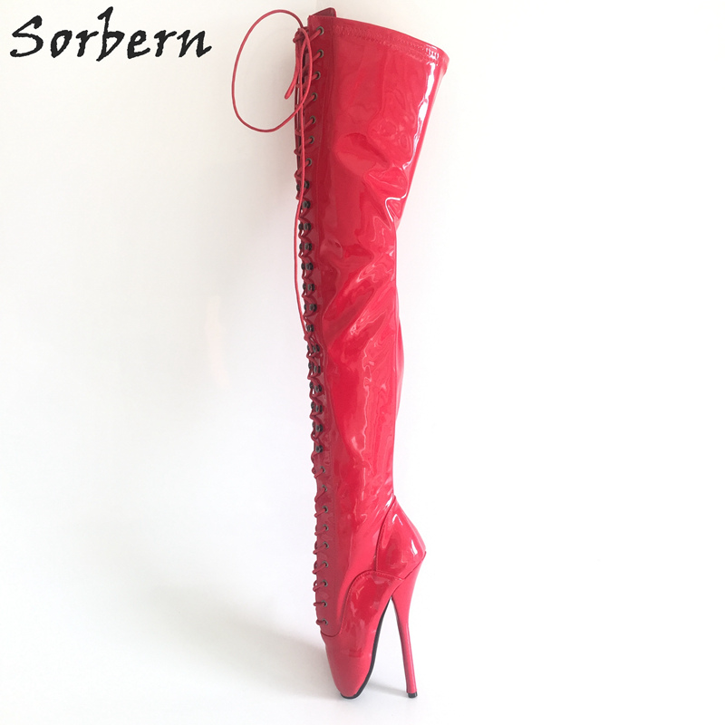Sorbern Sexy Runway Shoes Over The Knee Boots For Women Ballet Heels Candy Color Women Shoes And Boots Stand On Toe Boots Custom elegant candy color stand collar sleeveless jumpsuit for women