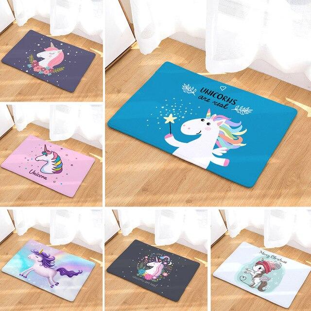 Unicorn Bagno Zerbino 50x80 cm Del Fumetto Stampato In Pelle Scamosciata Tappeti