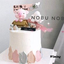 pig topper cake decoration birthday party supplies baby toys gifts for kids children cake decorating supplies pig cupcake topper