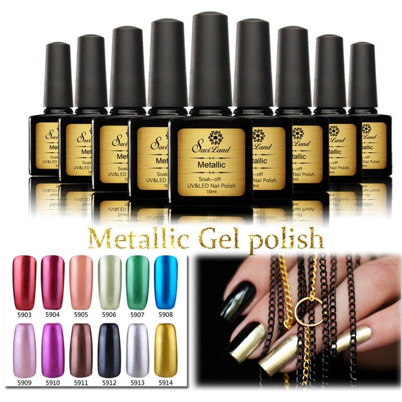Metallic Gel Nail Polish: Saviland UV Nail Gel Polish Metal Metallic Colors New UV