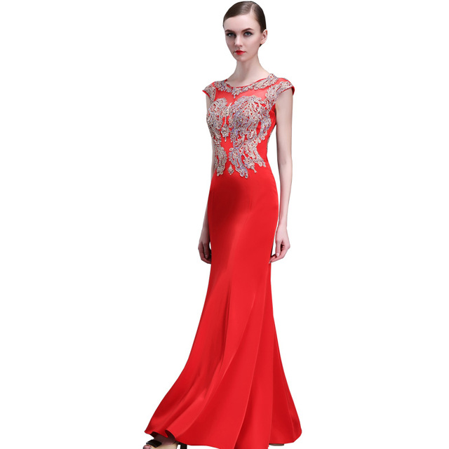 Red Mermaid Long Evening Dresses Appliques 2017 Beaded Real Evening ...