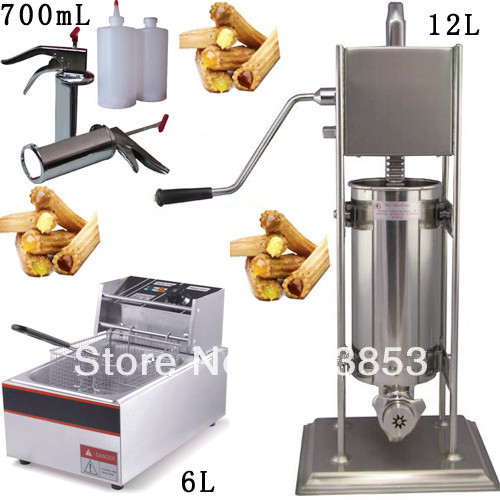 3 in 1 12L Spainish Churro Maker + 6L Deep Fryer + 700ml Churros Filling Machine fast food leisure fast food equipment stainless steel gas fryer 3l spanish churro maker machine
