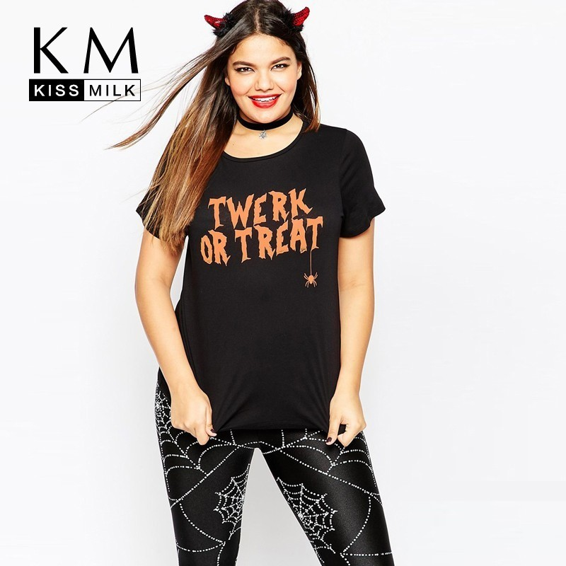 Kissmilk European And American Streets Large Size Halloween Carnival Letter Funny Print Sleeve Round Neck Loose Slim T-shirt