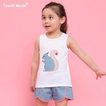 ФОТО summer 2 piece girls clothing set 100% cotton embroidery 2018 white vest kids tank tops+blue dot denim shorts children clothes