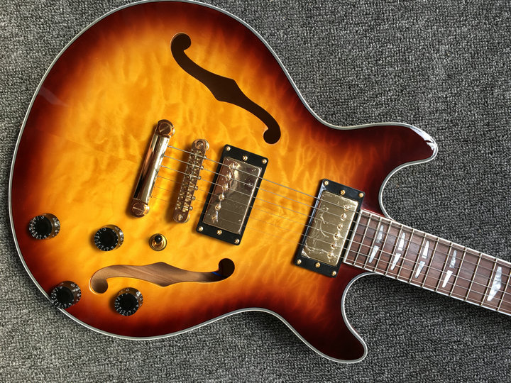 New Arrival Jazz 339 Electric Guitar Rosewood neck maple wood body sunburst quilted maple top es339 guitarra custom shop china china oem firehawk shop guitar hot selling tl electric guitar stained maple tiger stripes maple wood color page 4