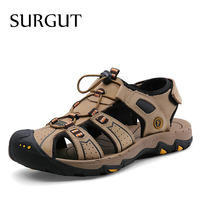 SURGUT Brand Summer Style Genuine Leather Beach Casual Male Sandals Man Fisherman For Men Walking High Quality Comfortable Shoes