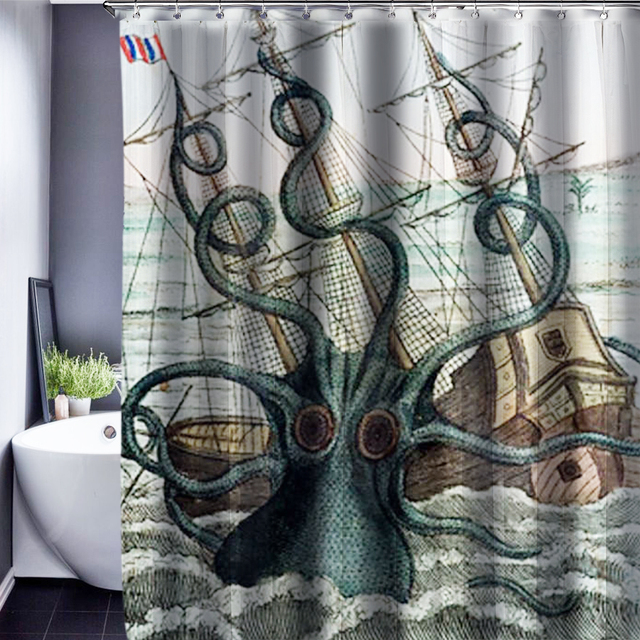 3D Squid Polyester Customized Shower Curtain Bathroom Accessories Waterproof Fabric