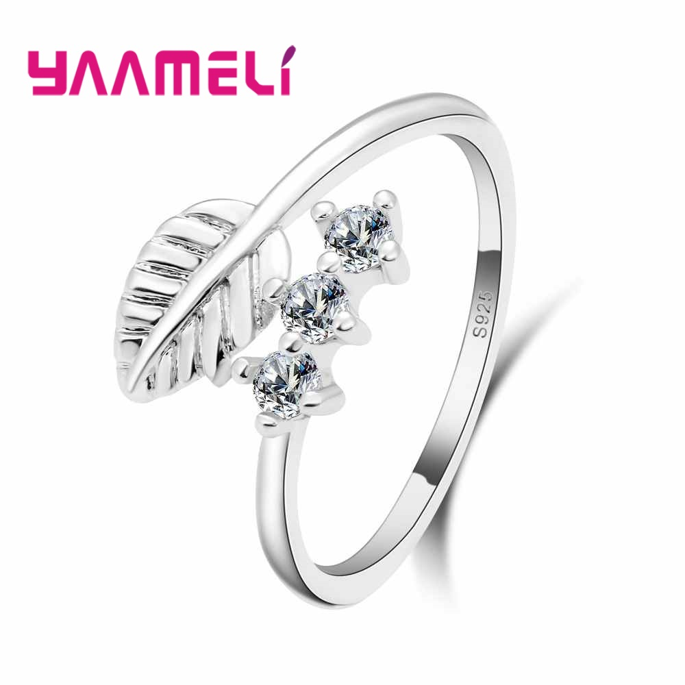 YAAMELI Leaf Shape Fashion 925 Sterling Silver Adjustable Rings Accessory Women Party Finger Ring Jewelry Bijoux Anillos Lady