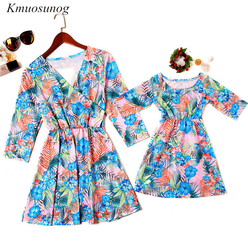 Mother-Daughter-Dresses-Half-Sleeve-V-neck-Mini-Dress-Mother-and-Daughter-Clothes-Spring-Leaf-Flowers (2)