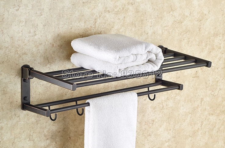 Bathroom Accessory Wall Mounted  Black Oil Rubbed Bronze Towel Rail Holder Storage Rack Shelf Bar With Hooks Wba531 free postage oil rubbed bronze tooth brush holder double ceramic cups holder