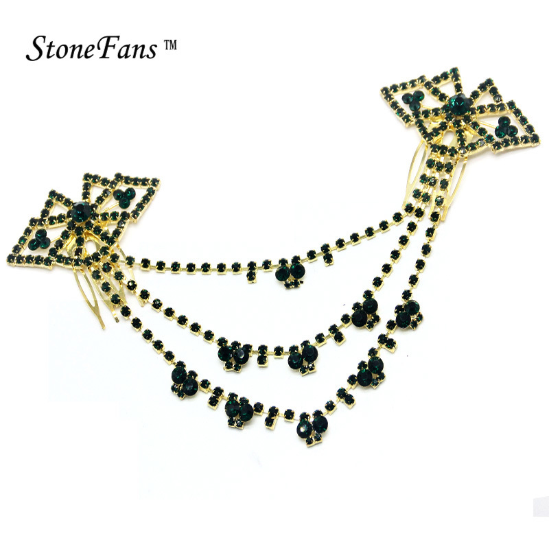 StoneFans Black Gold Crystal Hair Clips For Women Hairpin Trendy Indian National Jewelry Hair Ornaments For Bride Rhinestone Pin