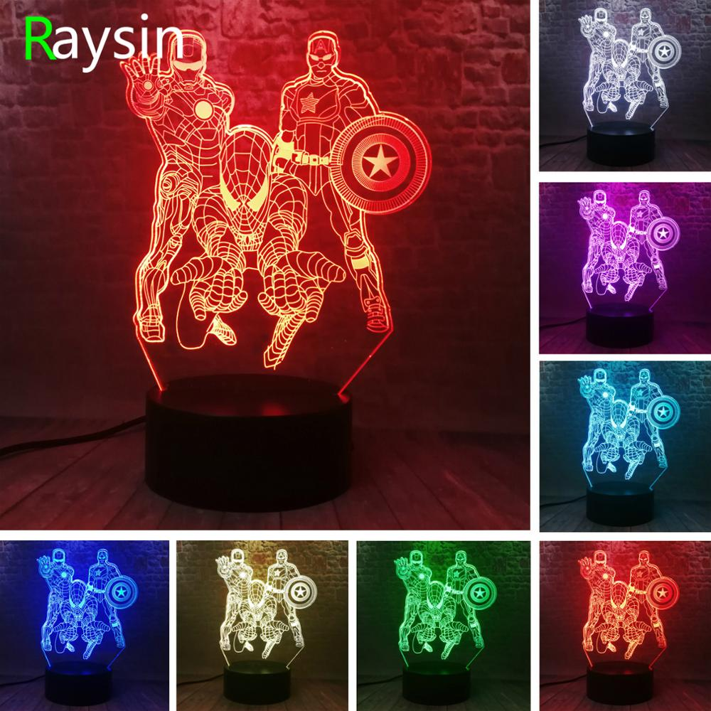Amroe 3D Marvel Heroes Night Lights For Kids 7 Colors LED Illusion Bedroom Table Lamp Spiderman Captain America Ironman Gifts