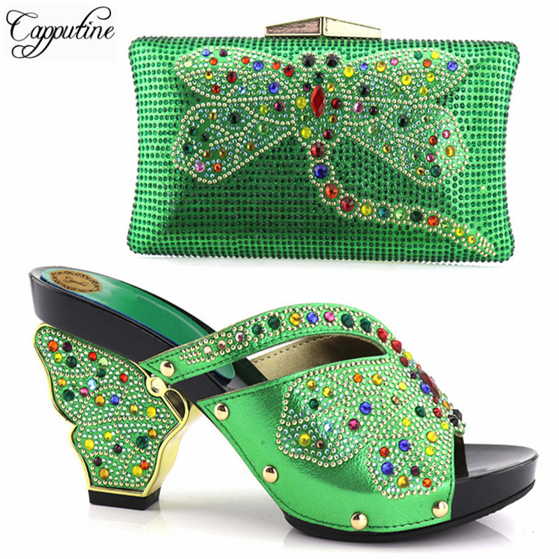 Capputine 9CM High Pumps Hot Selling Italian Shoes With Matching Bag Latest Rhinestone African Women Shoes And Bag Set For Party italian shoes with matching bag new design african pumps shoe heels fashion shoes and bag set to matching for party gf25
