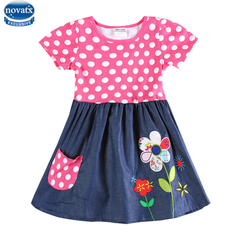 novatx girls dresses branded cartoon character children clothes casual summer kids girls dress baby frocks polka dot dress
