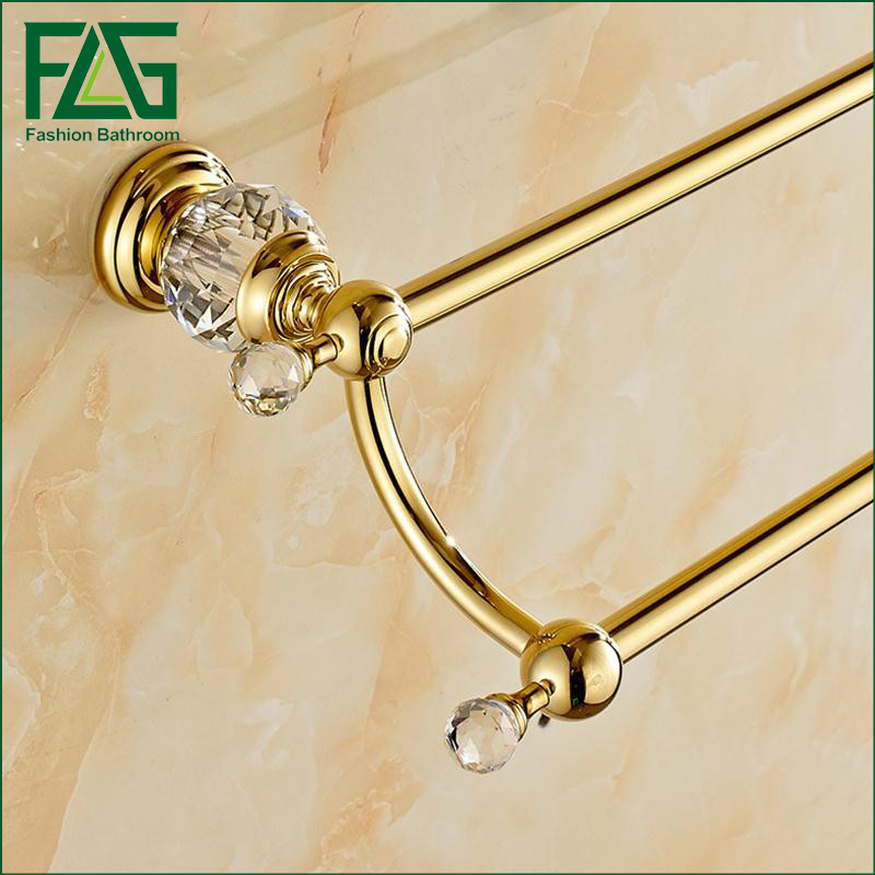 Free Shipping Brass & Crystal Made,PVD-Ti Gold, Towel Bar,Towel Holder, Towel Rack ,Solid free shipping brass & stone golden towel rack gold towel bar towel holder cy008s