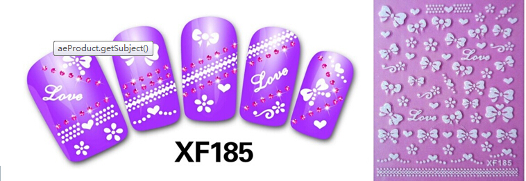 white 3D bowknot design Water Transfer Nails Art Sticker decals lady women manicure tools Nail Wraps Decals XF185