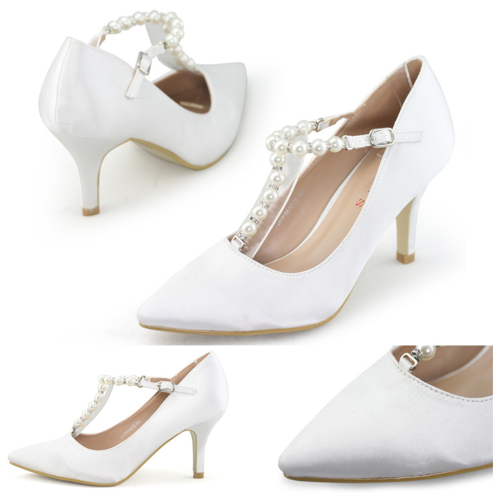 Brand Women White Pearl Pumps Wedding Shoes Woman Closed Pointed Toe High Hee