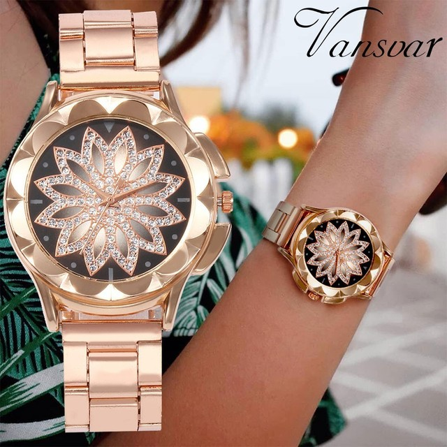 Drop Shipping Fashion Women Flower Rhinestone Wrist Watch Luxury Casual Rose Gol