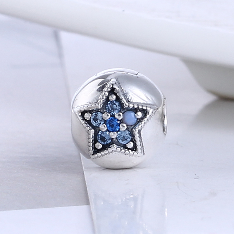 2017 Christmas 100% 925 Sterling Silver Star Charm Clips Beads Fit Pandora Charm Bracelet DIY Original Silver Jewelry Making