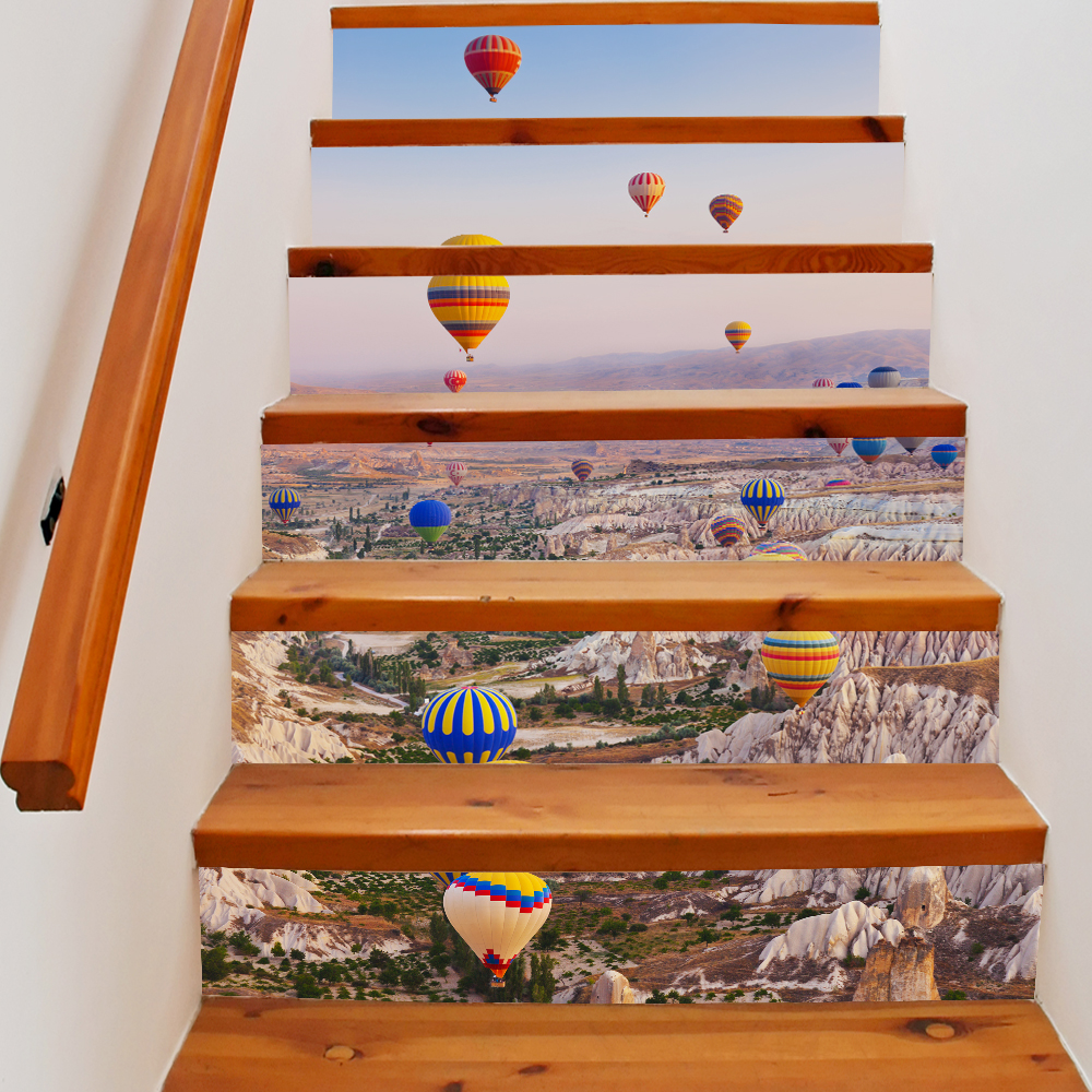 6 Pieces/Set Creative DIY 3D Stairway Stickers Balloon Fly Pattern for Room Stairs Decoration Floor Staircase <font><b>Wall</b></font> Sticker