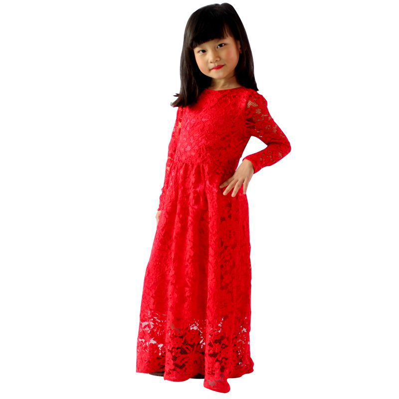 Year's Essential Girls Dress Full Length Red Body Lace Kids Long Frocks Party Wear Dresses Girl Max Slip 100-150