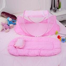 3 pçs/set Fundamento Do Bebê Crib Compensação Mosquiteiros Dobrável Música Bebê Colchão Da Cama Travesseiro Bebê Acessórios de Cama de Berço para o Bebê