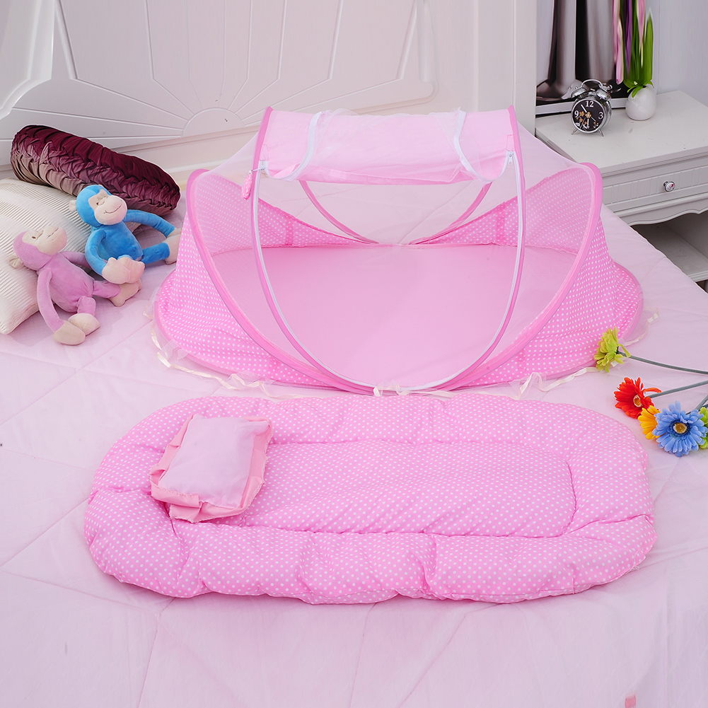 3pcs/Set Pink Baby Bedding Crib Netting Folding Baby Music Mosquito Nets Bed Mattress Pillow Baby Crib for Baby Bed Accessories 3pcs set pink baby bedding crib netting folding baby music mosquito nets bed mattress pillow baby crib for baby bed accessories