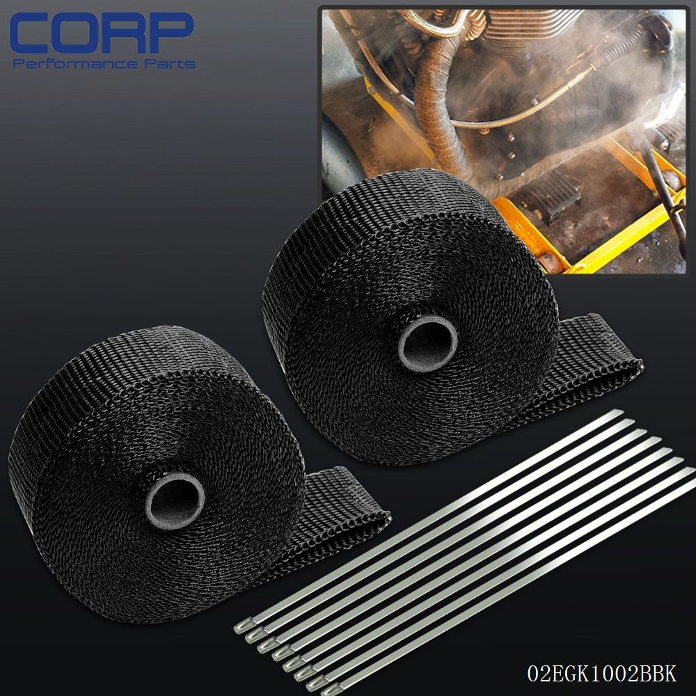 For 2 * Car Motorcycle 10m Exhaust Heat Wrap Turbo Pipe Heat Insulated + Cable Ties