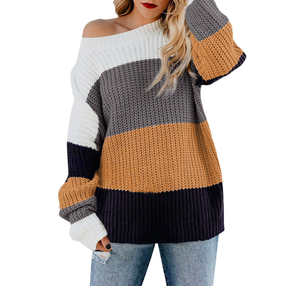 Womens Off The Shoulder Sweater Casual   Knitted Loose Long Sleeve Pullover made of high quality materials durable enought 8Z(China)