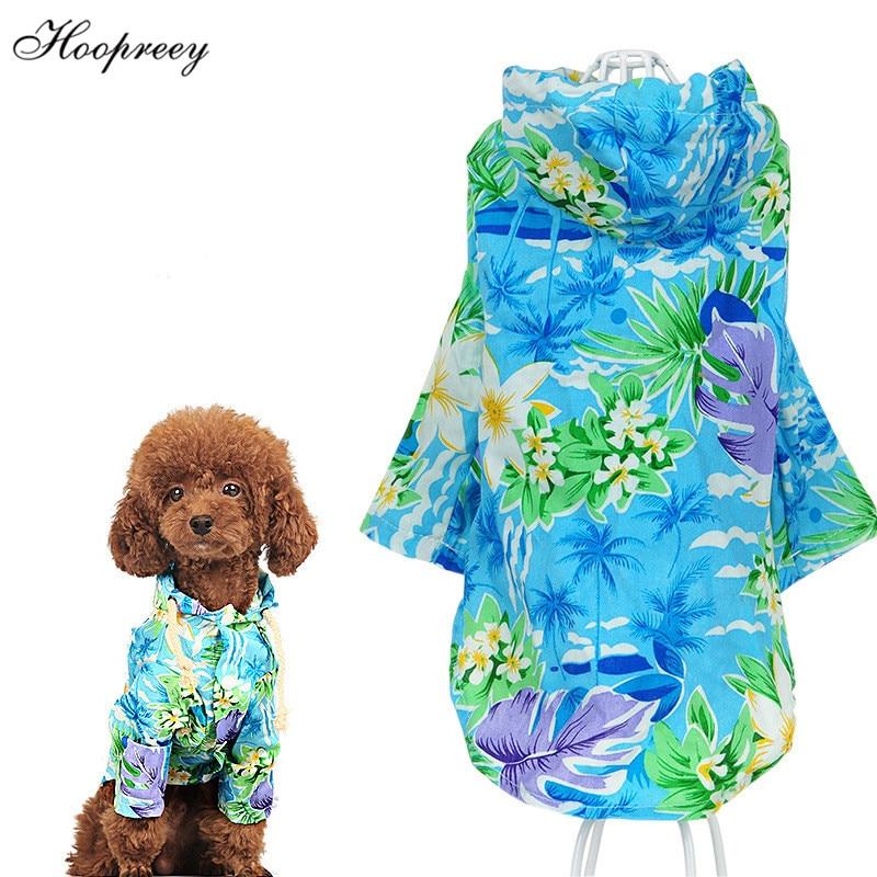 Small Pet Dog  Clothes Summer Floral T-Shirt Vest Hawaiian Beach  Apparel Costum