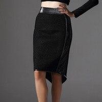 AZURE SHEN High End Custom 2017 Fashion Trend New Black High Waist Split Joint Leather