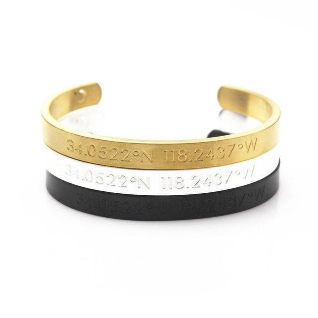 Luxe Célèbre Marque Couple en acier inoxydable Hommes femmes bracelet Gravé  Coordonner Manchette Bracelet Main Stamp