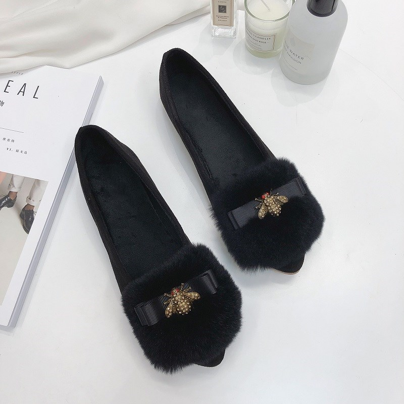 Chowaring Bow Metal Bee Fur Autumn Women Casual Shallow Shoes Autumn Slip On Female Soft Flats Shoes Female Flat Heel Boat Shoes new style women girl spring mixed colors casual shoes female pretty flat shoes comfy soft slip on single casual boat shoes s