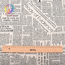 Haisen,Printed Newspaper Cotton Linen Fabric For Quilting,Sewing,Sofa,Curtain,Bag,Cushion,Furniture Cover Decoration Half Meter