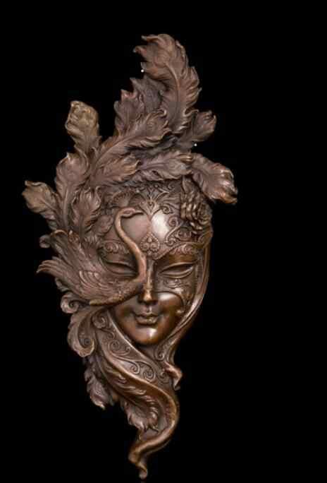 Máscara de pavo real decoración del hogar conjunto suave escultura de cobre artesanía colgante