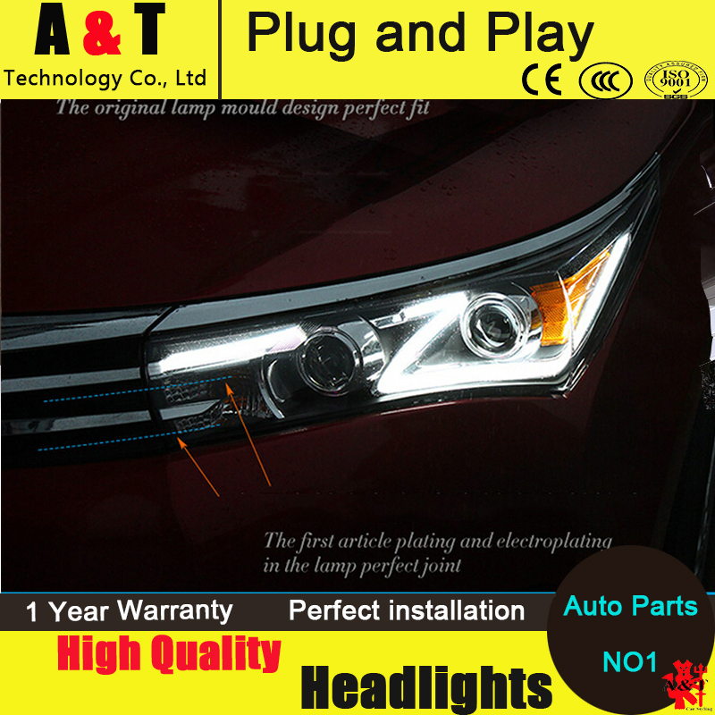 Auto Lighting Style LED Head Lamp for Toyota Corolla led headlight assembly 2014-2015 new Altis led drl H7 with hid kit 2pcs. hireno headlamp for 2016 hyundai elantra headlight assembly led drl angel lens double beam hid xenon 2pcs