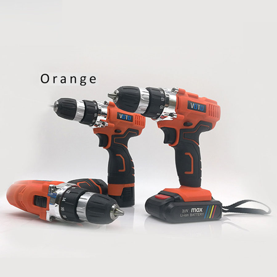 VOTO V6 Battery Rechargeable Cordless Drill Electric Screwdriver Set Lithium Power Tools Screw Gun Driver 12V 16.8V 21V Orange voto v6 battery rechargeable cordless drill electric screwdriver set lithium power tools screw gun driver 12v 16 8v 21v pink