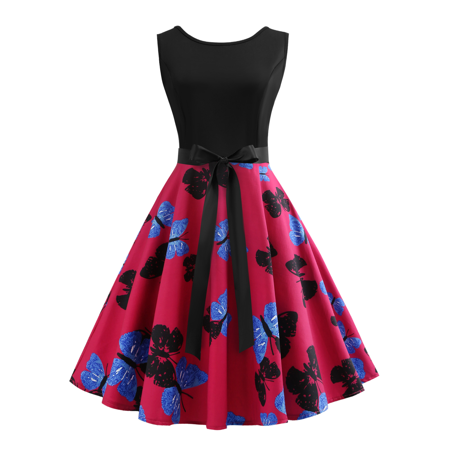 Summer New Style Woman Sleeveless Butterfly Printing Dress Sexy Fashion V Collar Casual Vintage Dress