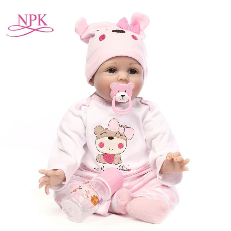 55cm NPK Silicone Reborn Baby Silic Toys Lifelike Soft Cloth body Newborn babies bebes Reborn doll Birthday Gift Girls